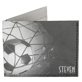 Cool Vintage Grunge Football in Goal Personalized Tyvek® Billfold Wallet