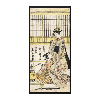 Cool vintage japanese ukiyo-e geisha old scroll gallery wrap canvas