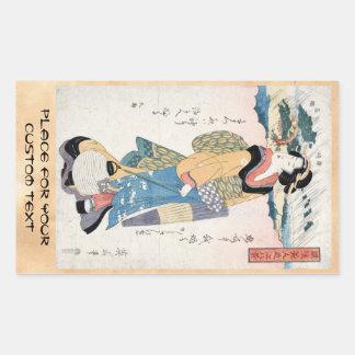 Cool vintage japanese ukiyo-e scroll geisha art rectangular sticker