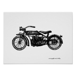Cool vintage motorcycle ink drawing art poster