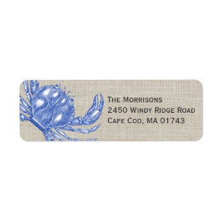 Cool Vintage Nautical Blue Crab Custom Beach Return Address Label