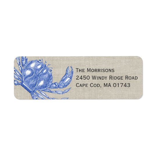 Cool Vintage Nautical Blue Crab Custom Beach Return Address Label