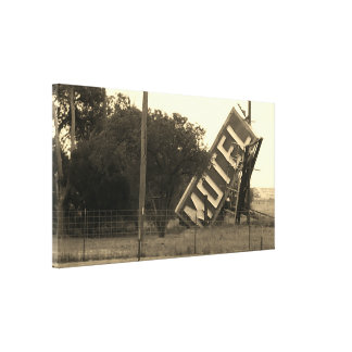 COOL VINTAGE ORIGINAL ROUTE 66 MOTEL SIGN CANVAS