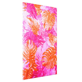 Cool Vintage Pink Orange Indian Floral Pattern Canvas Print