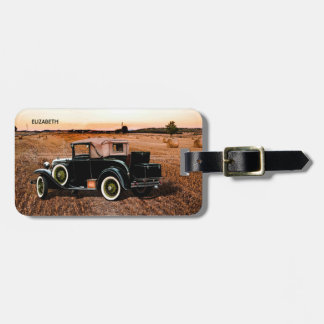 Cool Vintage Retro Car In Pink And Black Luggage Tag