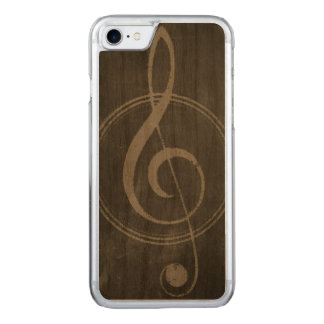 Cool Vintage Retro Music Clef Symbol Carved iPhone 7 Case