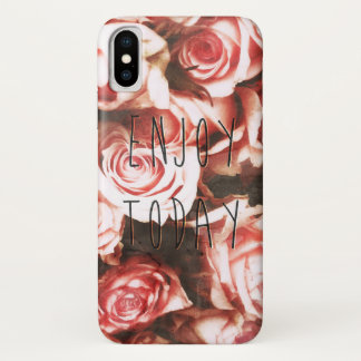 """Cool vintage roses """"Enjoy Today"""" iPhone X Case"""