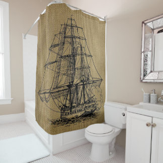 Cool Vintage Ship on faux burlap Shower Curtain