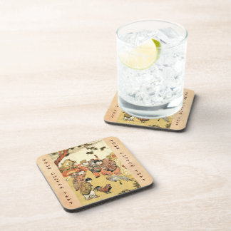 Cool vintage ukiyo-e japanese children and rooster coaster