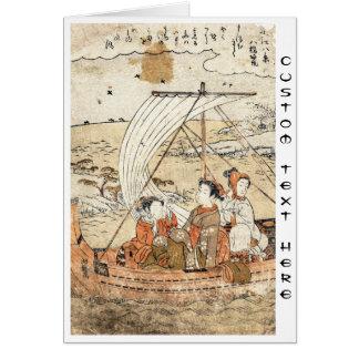 Cool vintage ukiyo-e japanese three woman boat card