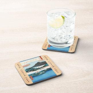 Cool vintage ukiyo-e japanese waterscape mountain beverage coasters