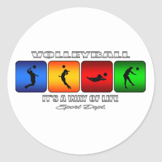 Cool Volleyball It Is A Way Of Life Classic Round Sticker