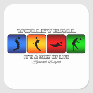 Cool Volleyball It Is A Way Of Life Square Sticker