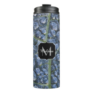 Cool water drops dew texture leaf Monogram Thermal Tumbler
