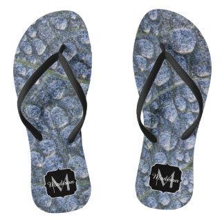 Cool water drops dew texture leaf Monogram Thongs