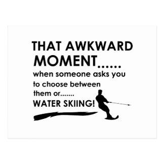 Cool water skiing  designs postcard