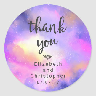 Cool Watercolor Design - Surreal Clouds Thank You Round Sticker