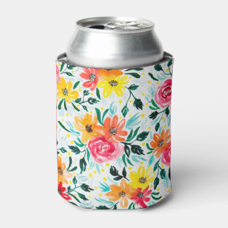 Cool Watercolor Floral Colorful Pattern Can Cooler