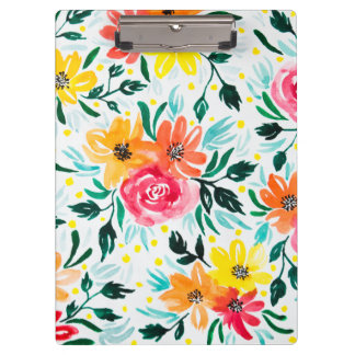 Cool Watercolor Floral Pink Yellow Pattern Clipboard