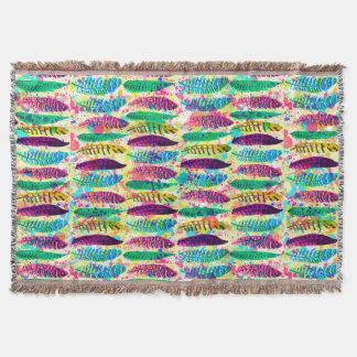 Cool watercolor neon splatters tribal feathers throw blanket