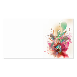 Cool watercolours treble clef music notes swirls business cards