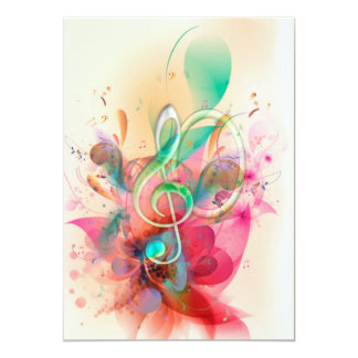 "Cool watercolours treble clef music notes swirls 5"" x 7"" invitation card"