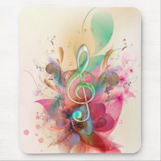 Cool watercolours treble clef music notes swirls mouse pad