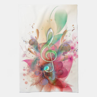 Cool watercolours treble clef music notes swirls tea towel