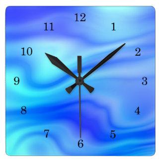 Cool wavy blue ocean liquid pattern clocks