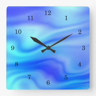 Cool wavy blue ocean liquid pattern square wall clock