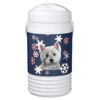 COOL WESTIE WITH SNOWFLAKES DRINKS COOLER