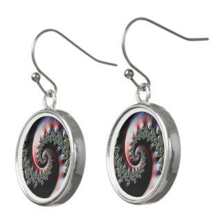 Cool Wet Paint Fractal Swirl of RGB Primary Colors Earrings
