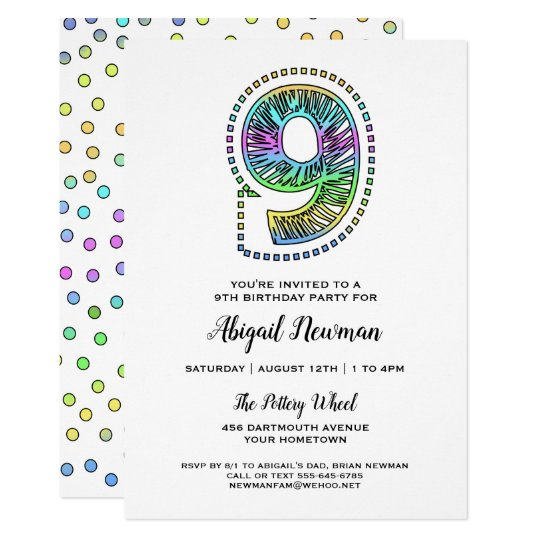 Cool Whimsical Fun 9th Birthday Party Invitation