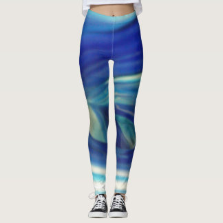 Cool White and Blue Swirl Pattern Leggings