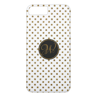 Cool White Gold Glitter Polka Dots With Monogram iPhone 8 Plus/7 Plus Case