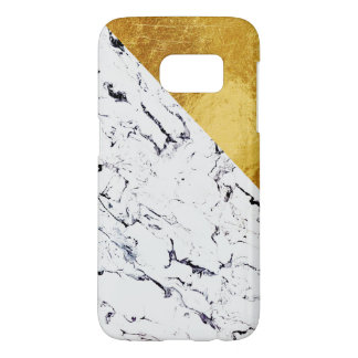 Cool White Marble with Gold Foil