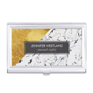 Cool White Marble with Gold Foil Business Card Holder
