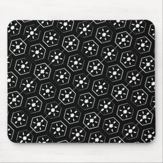 Cool White Star Inspired Pattern on Black Space Mouse Pad