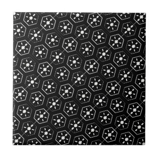 Cool White Star Inspired Pattern on Black Space Tile