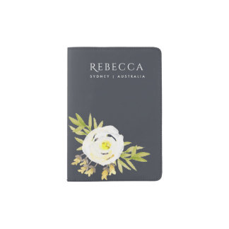 COOL WHITE & YELLOW WATERCOLOR FLORAL Personalised Passport Holder