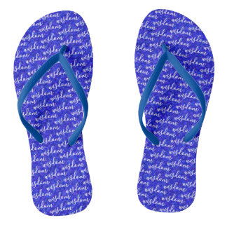 Cool Wisdom Word Pattern Design Blue Color Thongs