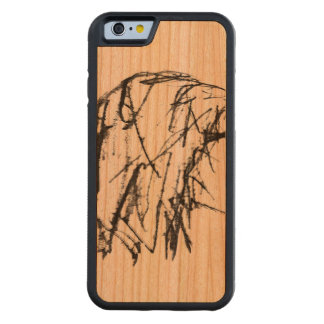 Cool Woman Portrait Drawing Carved Cherry iPhone 6 Bumper Case