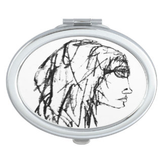 Cool Woman Portrait Drawing Mirror For Makeup