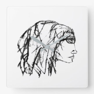 Cool Woman Portrait Drawing Square Wall Clock