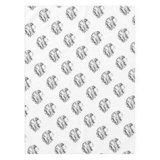 Cool Woman Portrait Drawing Tablecloth