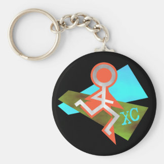 Cool XC Cross Country Running Basic Round Button Key Ring
