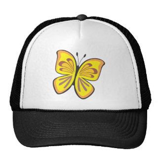 Cool Yellow Butterfly Cartoon Mesh Hats