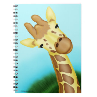 Cool Yellow Giraffe On Blue Background Notebook