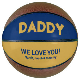 Cool Yellow Gold Blue Custom Name Daddy Basketball