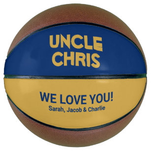 Cool Yellow Gold Blue Custom Name Uncle Basketball